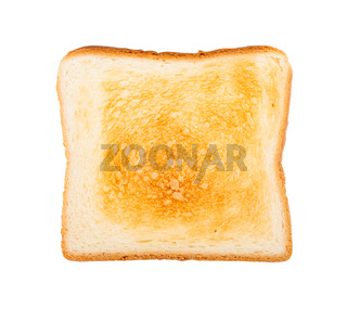 top view of slice of toasted bread isolated