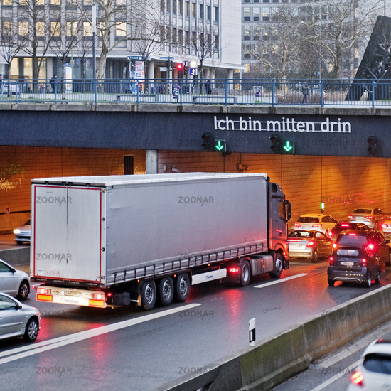 traffic jam at motorwaytunnel A40 in the inner city, Essen, Ruhr Area, Germany, Europe