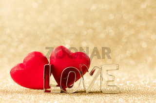 Wooden hearts and word love