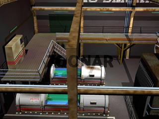 Fabrikhalle mit Leitungen und Tanks