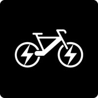 Electric bicycle icon in geometric and flat style. Editable.