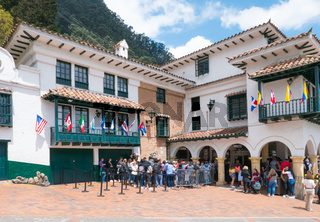 Bogota ticket office and rack train departure station of Monserrate sanctuary