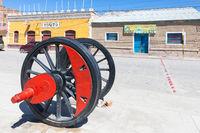 Bolivia Uyuni wheels of ancient railway wagon
