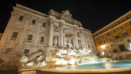 Trevi Fountain in Rome, Italy by Night Timelapse Image Water Flowing from Bottom View