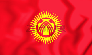 3D Flag of Kyrgyzstan. 3D Illustration.