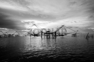 Black and white photo Songkhla Lake at sunrise, Thailand