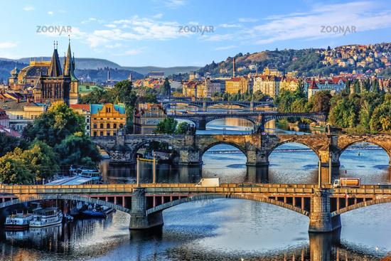 Manes Bridge, Charles Bridge and Legion Bridge view in Prague, Czech Republic