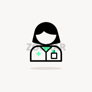 Pharmacist woman. Icon with shadow on a beige background. Pharmacy vector illustration