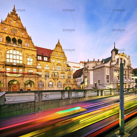 light tracks in front of the old town hall, Bielefeld, North Rhine-Westphalia,Germany, Europe