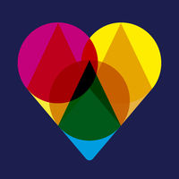 Transparent heart icon with primary colors. Isolated.