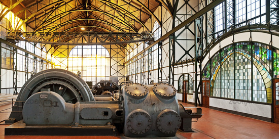 Machine hall Zollern colliery with art nouveau windows, industrial museum, Dortmund, Germany, Europe
