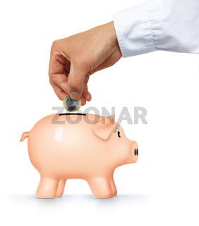 Gestenserie, Hand füttert Sparschwein