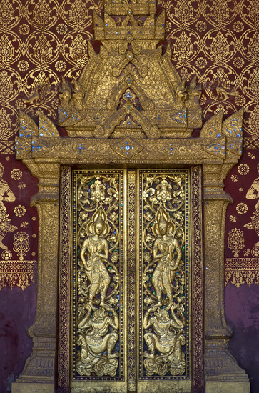 Entry portal with carved and gilded decorations, Temple Wat Sen Soukharam, Luang Prabang, Laos