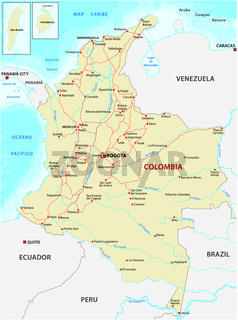 Map with the main roads and rivers of Colombia.eps