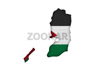 Karte und Fahne von Palästina auf altem Leinen - Map and flag of Palestine on old linen