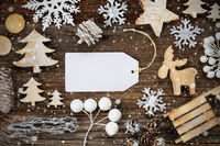 Label, Frame Of Christmas Decoration, Copy Space, Snowflakes