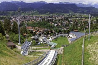 Skisprung-Arena mit Panorama, Oberstdorf, Allgäu