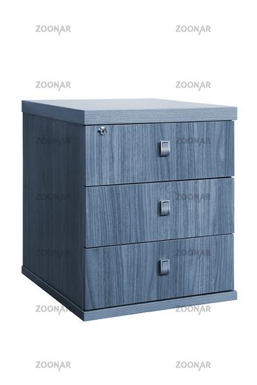 wooden desk cupboard on white background