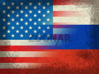 United States And Russian Flags Grunge Represents Hacking