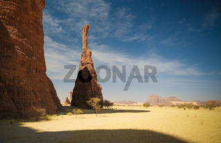 Abstract Rock formation at plateau Ennedi aka spire , Chad
