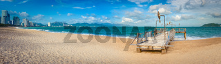 Scenic beautiful view of Nha Trang beach. Panorama
