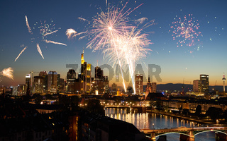 Feuerwerk zu Silvester in Frankfurt am Main