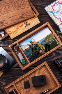 Wooden photo box with photo from travel