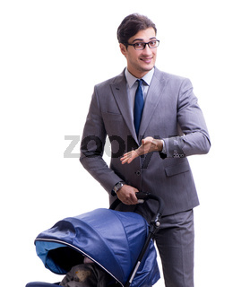 Young dad businessman with baby pram isolated on white
