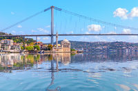 Ortakoy Mosque and the Bosphorus Bridge, view from the sea, Istanbul