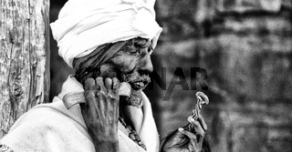 in the celebration of lalibela africa   old priest