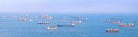 Singapore harbor cargo ships panorama