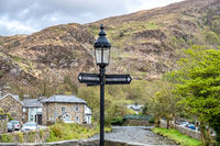 View from the Beddgelert bridge over the River Colwyn in the heart of Snowdonia National Park