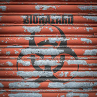 Grungy Biohazard Sign At A Lab