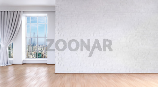 3d modern bright room with big windows and wooden floor