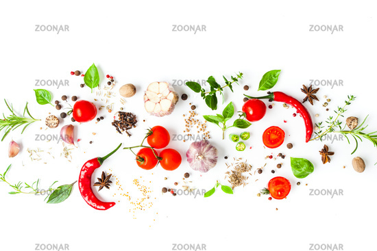 Fresh vegetables and spices top view on the white