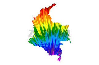 Colombia - map is designed rainbow abstract colorful pattern