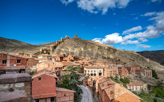 Panoramic view of Albarracin, a picturesque medieval village in Aragon, Spain