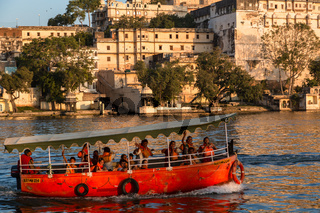 Boat at sunset on Lake Pichola