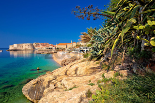 Historic town of Dubrovnik and Banje beach view