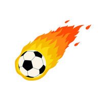 Soccer football comet fire tail flying