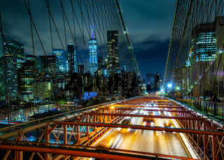 Manhattan from the Brooklyn Bridge at Night