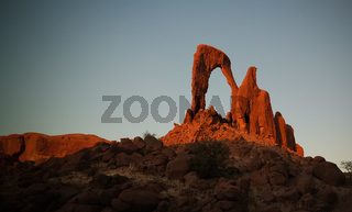 Abstract Rock formation at plateau Ennedi aka window arch in Chad
