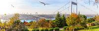 Autumn Istanbul, panorama of the Otagtepe park and the Second Bosphorus Bridge