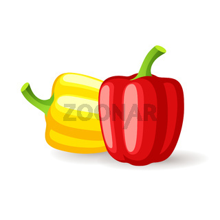 Bright red and yellow bell peppers icon isolated, organic healthy food, fresh vegetables, vector illustration.