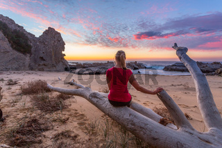 Watching the sunrise at Queen Victoria Rock Australia