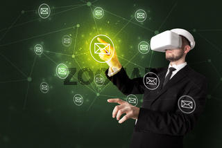 Man in vr goggles and online communication concept