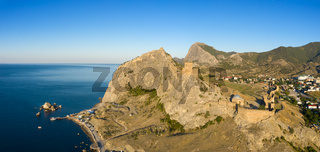 Aerial view of Genoese fortress in Sudak