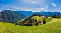 Mountain landscape, Alps in Slovenia with farm and blooming meadows