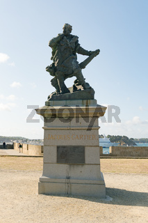 statue of discoverer and mariner Jacques Cartier in Saint-Malo in Brittany