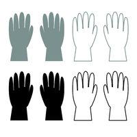 Working gloves icon outline set grey black color